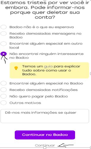 Como excluir eliminar cancelar apagar sua conta do badoo passo 7