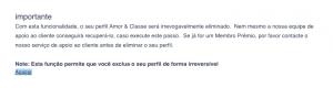 Como eliminar apagar excluir deletar cancelar o cadastro o perfil a conta do Amor & Classe passo 4
