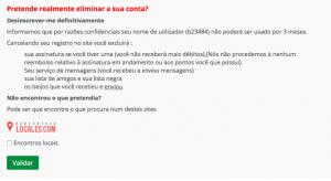 Como eliminar apagar excluir deletar cancelar o cadastro o perfil a conta do Encontros Locais passo 6